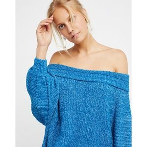 Free People Blue Edessa Off Shoulder Sweater